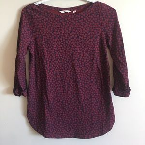 3/25$ reitmans shirt deep red with black flowers